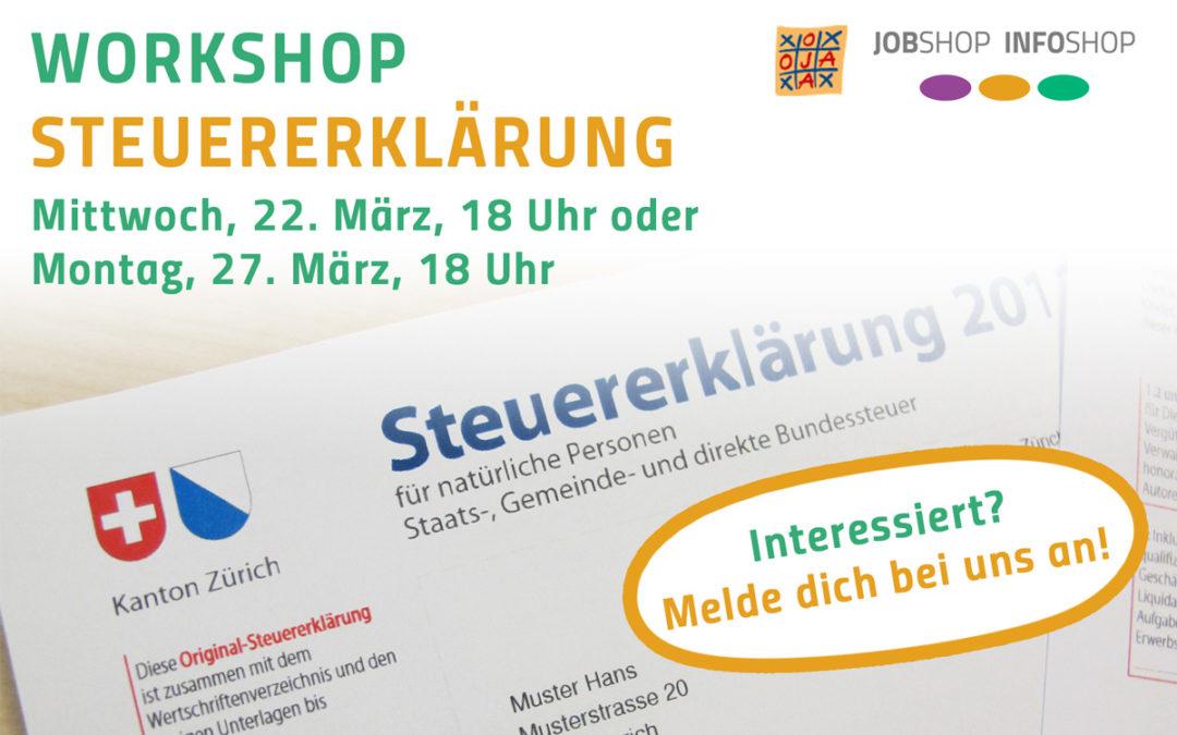 Workshop Steuererklärung – 22. und 27. März 2017