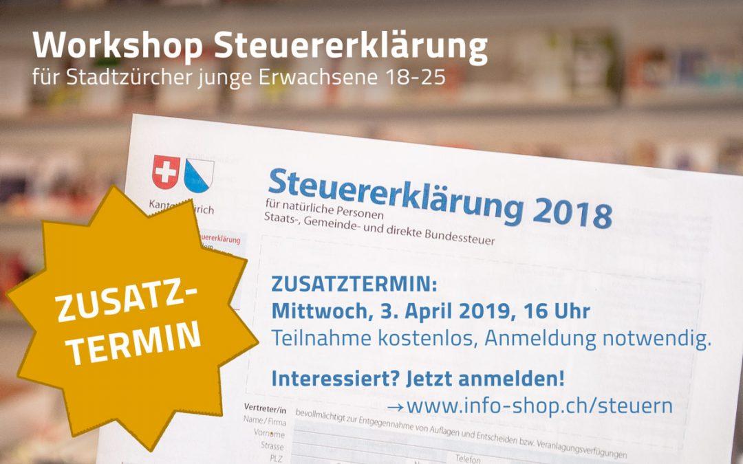 Workshop Steuererklärung: Zusatztermin!