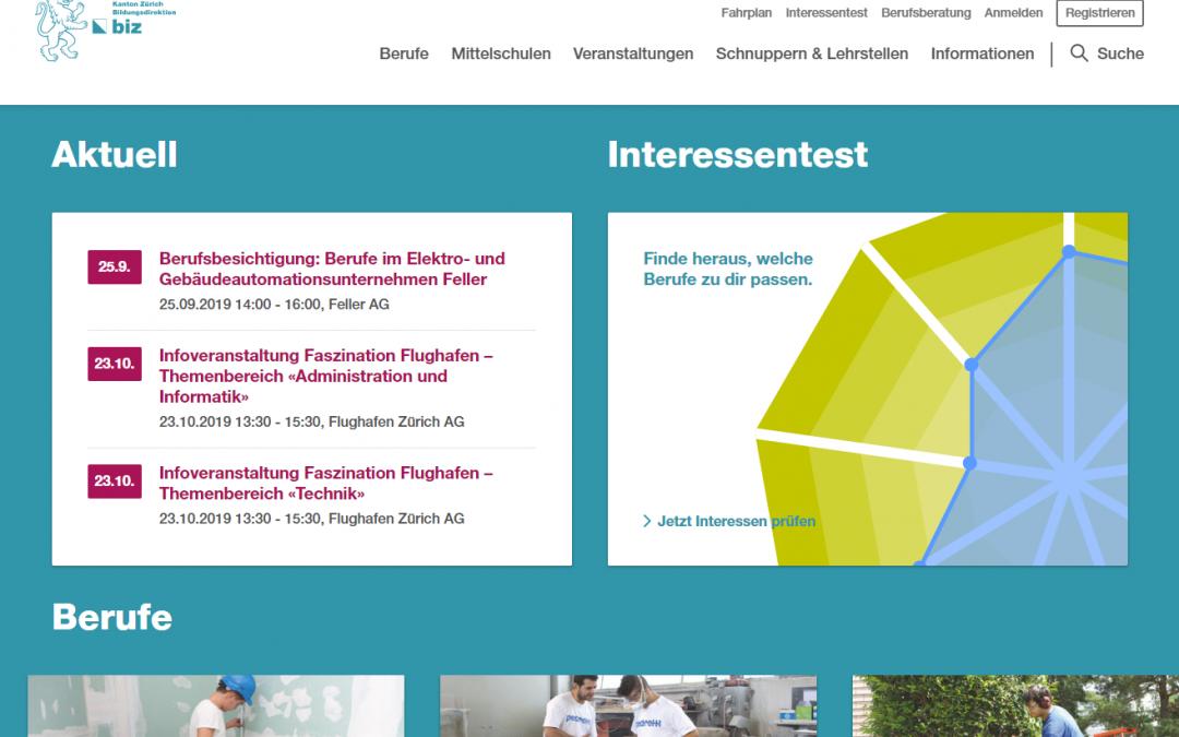 Neues Portal für die Berufswahl im Kanton Zürich