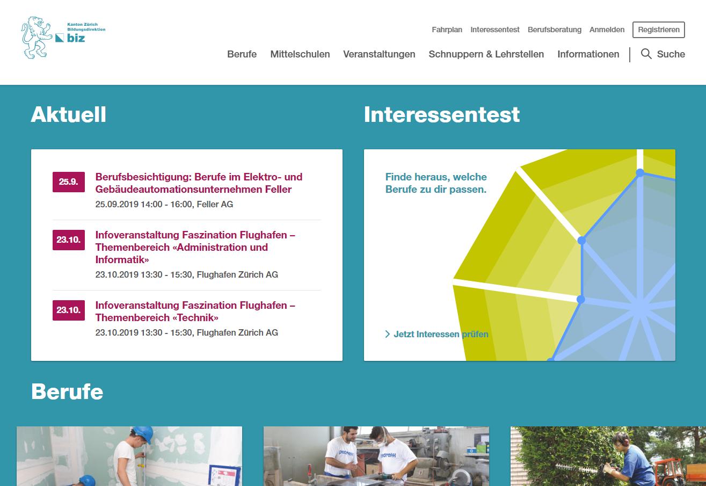 Screenshot berufswahl.zh.ch